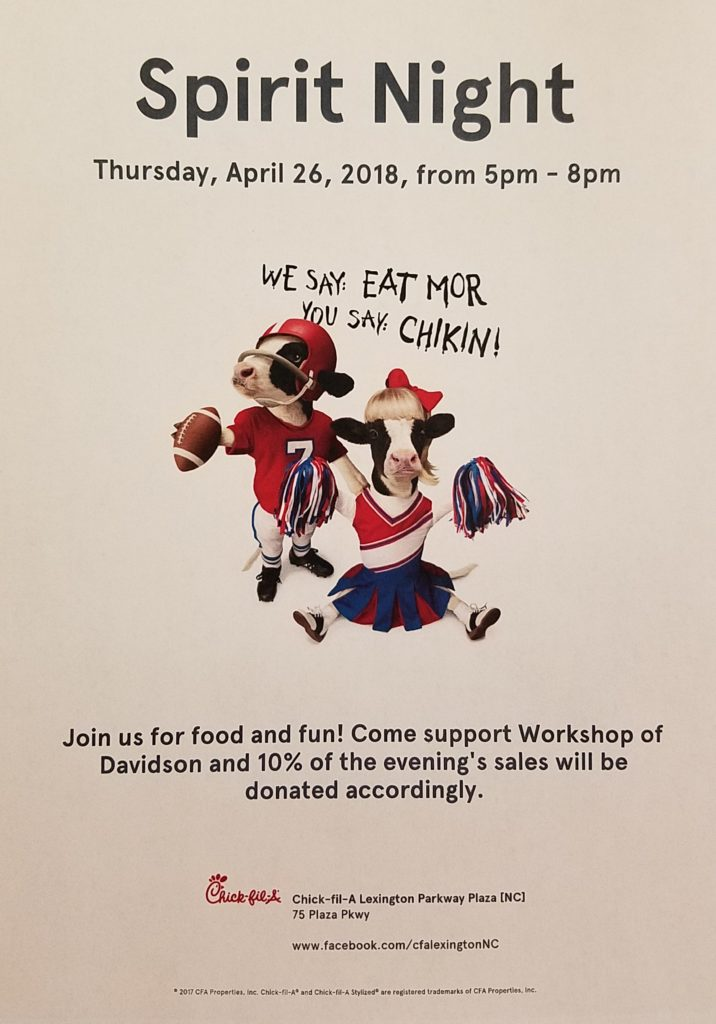 CFA Spirit Night flyer